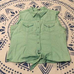 Mint green distressed button up tank top